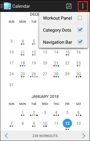 Calendar Month View Overflow Menu