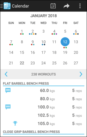 Calendar Month View Workout Panel