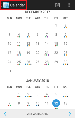 Calendar Navigation Menu Button