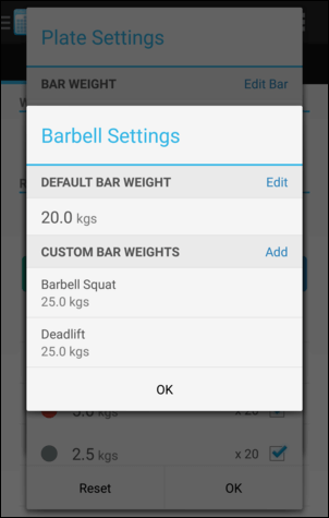 Plate Calculator Settings
