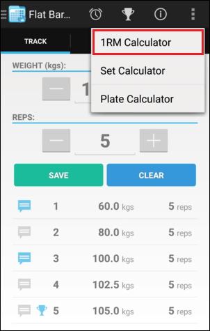 Training Screen 1RM Calculator