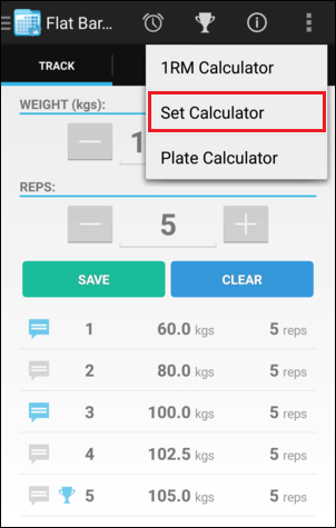 Training Screen Set Calculator